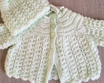 0-3 Month Matinee Coat with Matching Bonnet