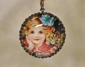 Glass Portrait Pendant Victorian Girl with Kitten Kitty Cat Brass Crown Edge Antiqued Gold Tone Setting 1 Piece