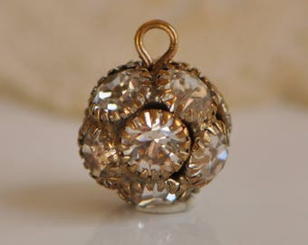 11 mm Round Rhinestone Drop Pendant Charm Antique Gold Plated with Clear Stones 1 piece
