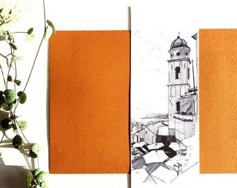 Cathedral Cervo, design architecture Ink Illustration black and white bookmark Cervo landscape, city drawing, painting landscape Italy