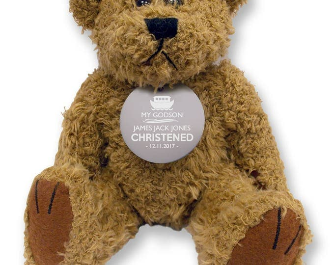 Personalised GODSON teddy bear gift idea with an engraved metal tag, christening baptism gift  - TED-GODS1