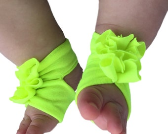 Infant Sandals - Neon Baby Shoes  - Highlighter Sandals - Baby Girl Sandals - Neon Green - Green Baby Sandals - Newborn Sandal - Baby Girl