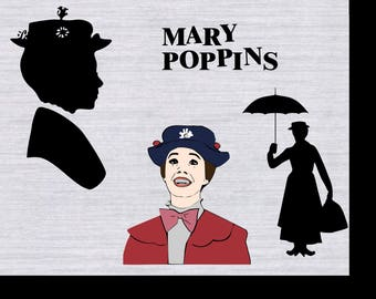 Mary Poppins SVG bundle, Mary Poppins clipart, cricut download, svg files for silhouette, cricut, dxf files