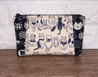 Cats Makeup Bag – Cute Kitties Japanese Fabric Handmade Bag – Cosmetic Zipper Pouch – Toiletry Bag – Cosmetics Case – Zippered Travel Pouch