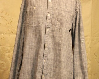 Casual Blue Linen Button Up Oxford Shirt - Men's Size M