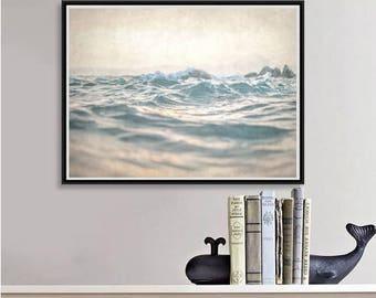 Abstract Ocean Photography, Modern Beach Decor, Ocean Print, Bathroom Art, Waves Beach Photo, Nautical Decor, beach photo download