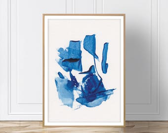 Blue Abstract Print, Blue Wall Art, Printable Art, Blue Print, Minimalist Art, Wall Art, Artwork, Prints, Digital Download, Blue Art, Art