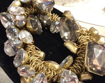 Vintage Chunky Stretchy Silvertone and Rhinestone Cha Cha Bracelet