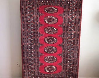 Vintage Hand Knotted Pakistani Rug in Red