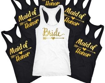 Maid of honor tank top, maid of honor shirt, bridal shirts, Bridesmaid wedding gifts for her, Custom bachelorette, wedding tanks,  D119