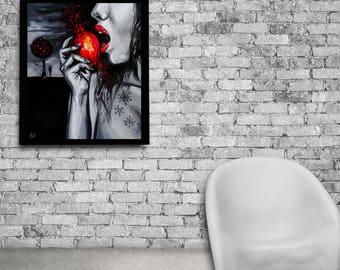 Snow white fine art print, Snow white print, Snow white gift, Snow white decor,  Black and white wall decor, Black and white print