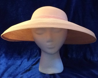 Norman Durand Pink Straw Wide Brim Picture Hat 1950s