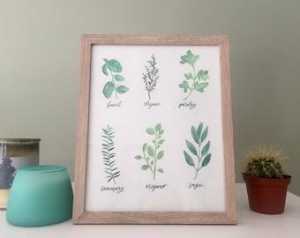 Herbs Print | Watercolor | Kitchen Art | Food | Kitchen Print | Food Print | Food Art | Herbs Watercolor | Herbs Painting | Kitchen design