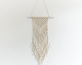 Macrame Wall Hanging - Small (Modern nursery decor, beige cotton on lilac dowel)
