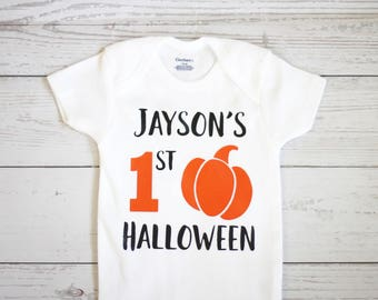 My first halloween onesie |  Personalized name onesie, fall onesie, baby boy onesie, halloween onesie,  pumpkin