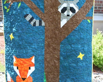 Fox and Raccoon Baby Quilt