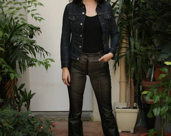Woman leather pants / women pants / vintage pants / high waist pants / vintage clothing / garment woman