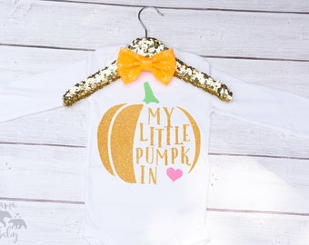 Baby Girl's My Little Pumpkin Onesie - Thanksgiving Onesie - Halloween Onesie - Pumpkin Shirt - Fall Onesie - My Little Pumpkin Shirt