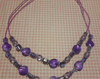 Double-strand purple necklace