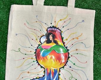 Hand printed & painted Cotton Tote Bag with Björk by MerviaArt