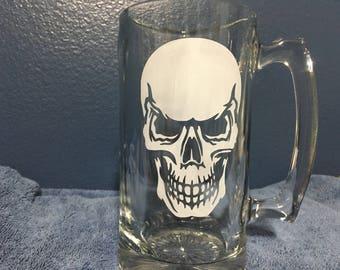 etched beer mug with skull