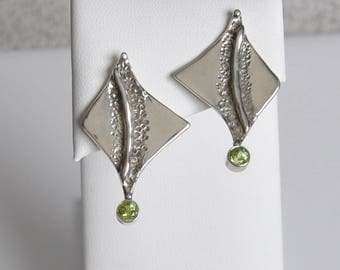 Sterling Silver Post Earrings, Peridot Accent
