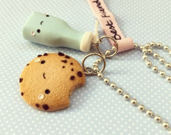 Best Friends Necklace, Super Kawaii Milk and Cookie Necklace, Miniature Food