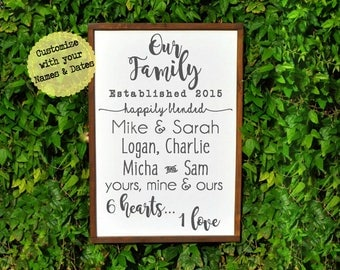 Blended Family Sign, Blended Family, Our Family Sign, Blended Family Gift, Blended Family Wedding Gift, Personalized Family Name Sign