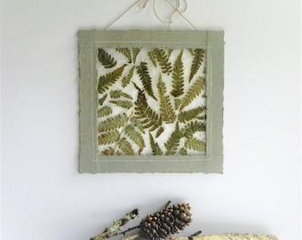 Fern art, nature decor, botanical wall art, wabi sabi decor, natural decoration, gray green decor, pressed fern art, botanical gift