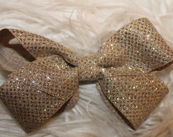Taupe/gold sparkle hair bow