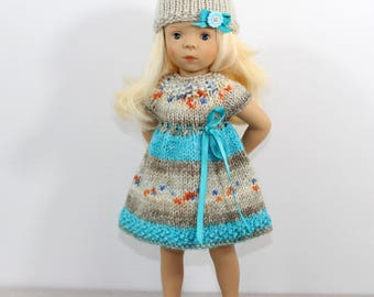 Knitted dress and hat for Minouche doll. Knitted outfit for doll.