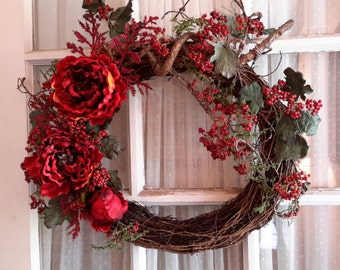 Rustic Autumn Wreath, Bittersweet Peonies Wreath Dark Burgandy all seasons