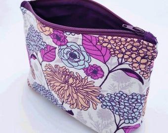 Make up bag, makeup bag, cosmetic bag, cosmetic case, zip bag, zip pouch, floral, purple
