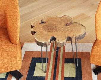 Black Locust Live Edge End Table/Wood Slice Table With Steel Hairpin Legs /Wood