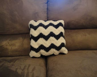 Black and White Chevron Crocheted Throw Pillow