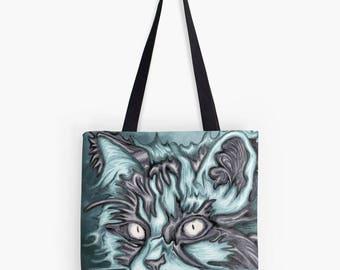 Blue Cat - tote bag printed fabric reproduction art painting - fantastic animal portrait
