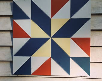 Barn Quilt, Barn Art, Garden Decor, Ready to ship, fathers day gift, star, mod, rustic, wedding gift, large barn quilt, free shipping