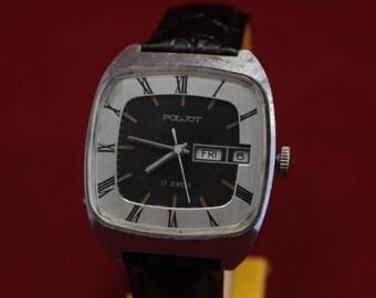 Vintage Poljot TV automatic shape vintage Russian Soviet Dress watch USSR