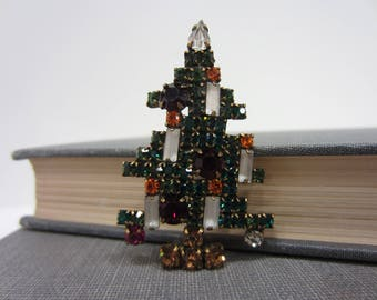 Amazing Weiss 5-Candle Rhinestone Mid-Century Christmas Tree Brooch