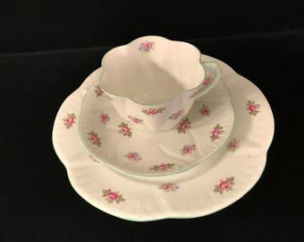 Vintage Shelly Teacup, Saucer, & Plate Set