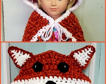 Fox me and my doll blanket, doll and child blanket, matching blanket, fox blanket, hooded blanket