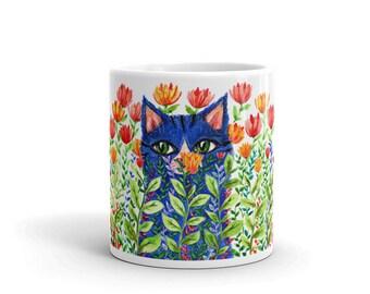 Cat Mug, Cat With Flowers, Blu Cat Mug, Mug with Cat, Mug For Cat Lovers, Cat Kitchen ware, Gift Idea, For Cat Lovers, Coffee Mug With Cat