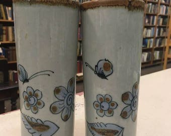 Two (2) Blue and Grey Bird Iced Tea Glasses, El Palomar Pottery