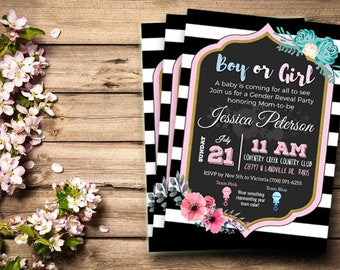 Gender Reveal Invitation, Gender Reveal Party, Gender Reveal Invite, Digital Download