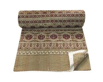 Vintage Queen Size Kantha Quilt Hand Block Floral Print Kantha Blanket Queen Size Natural Color Kantha Vegetable Dyed Bedding Throw