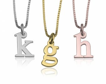 Small Initial Necklace - Solid Sliver 925