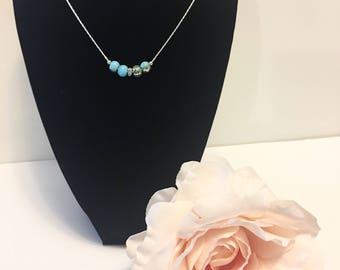 Aqua Pendant Necklace, Silver Necklace, Aqua Necklace, Crystal Bead Necklace, Crystal Necklace, Crystal Clear Pendant, Bridesmaids Gift