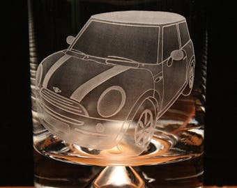 Mini Car modern engraved glass tumbler gift present