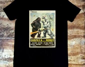 Godzilla vs Robot Retro Movie Poster T-shirt