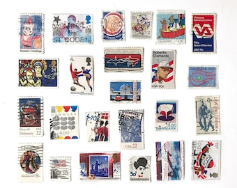 25pc Vintage Red & Blue Postage Stamps